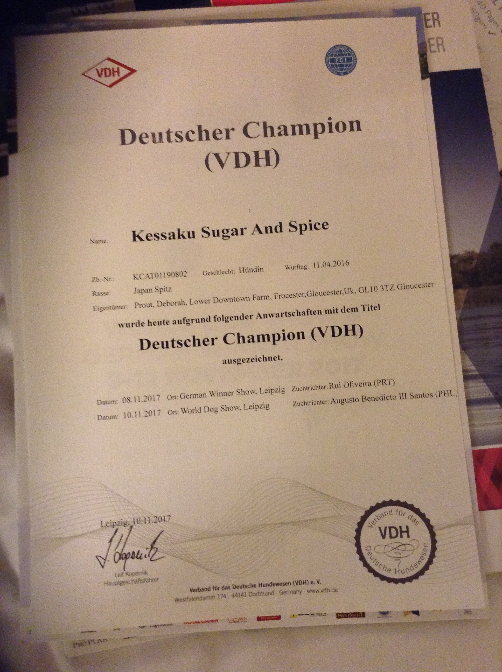 german champion cert